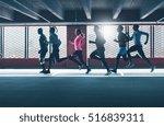 group of diverse urban runners... | Shutterstock . vector #516839311