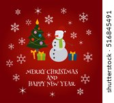 merry christmas and happy new... | Shutterstock .eps vector #516845491