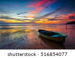 Boat With Colorful Sunset At...