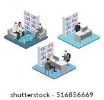 isometric interior of director... | Shutterstock .eps vector #516856669