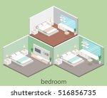modern bedroom design in... | Shutterstock .eps vector #516856735