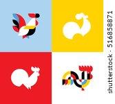 rooster. elegant flat vector...   Shutterstock .eps vector #516858871
