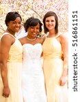 bride with her bridesmaids.   Shutterstock . vector #516861151