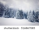 christmas background of snowy... | Shutterstock . vector #516867085