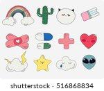 patch fashion pins and...   Shutterstock .eps vector #516868834