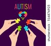 autism awareness poster with... | Shutterstock .eps vector #516876925