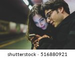 young beautiful couple in love... | Shutterstock . vector #516880921