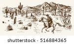 american wild west desert with... | Shutterstock .eps vector #516884365