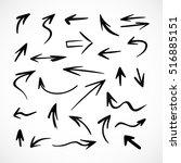 hand drawn arrows  vector set | Shutterstock .eps vector #516885151