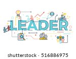 leader word in business... | Shutterstock .eps vector #516886975