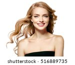 beautiful blonde woman beauty... | Shutterstock . vector #516889735