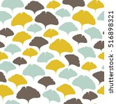 seamless pattern with ginkgo... | Shutterstock .eps vector #516898321