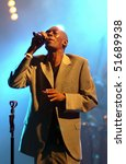 "Small photo of BELGRADE - MAY 30: Maxi Jazz from Faithless band sings during ""Vibe festival"" May 30, 2005 in Belgrade, Serbia."