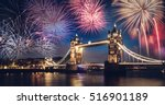 tower bridge with firework ... | Shutterstock . vector #516901189