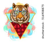 tiger hipster fashion animal... | Shutterstock .eps vector #516908875