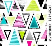 vector geometric ethnic neon... | Shutterstock .eps vector #516910264