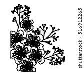 isolated flowers silhouette... | Shutterstock .eps vector #516912265