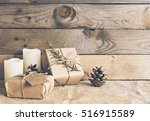 image of rustic christmas scene. | Shutterstock . vector #516915589