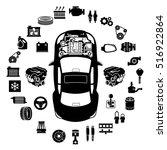 car repair engine vector | Shutterstock .eps vector #516922864