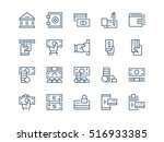 money. set of thin outline... | Shutterstock .eps vector #516933385