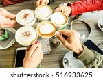 friends group toasting...   Shutterstock . vector #516933625