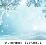 winter christmas background... | Shutterstock . vector #516935671