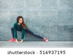 fitness sport girl in fashion... | Shutterstock . vector #516937195