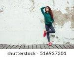 fitness sport girl in fashion... | Shutterstock . vector #516937201