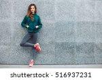 fitness sport girl in fashion... | Shutterstock . vector #516937231