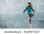 fitness sport girl in fashion... | Shutterstock . vector #516937237