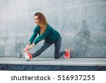 fitness sport girl in fashion... | Shutterstock . vector #516937255
