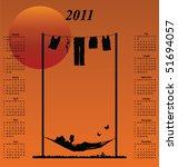 2011 calendar with woman...   Shutterstock .eps vector #51694057