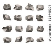 set of triangular stones... | Shutterstock .eps vector #516945379