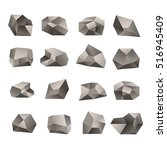 set of triangular stones... | Shutterstock .eps vector #516945409