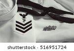 Black and White US Navy Uniform Photograph