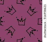 seamless pattern with crowns.... | Shutterstock .eps vector #516958621