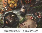 delicious outdoor table with... | Shutterstock . vector #516959869
