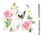 Kitten  Roses And Butterflies....