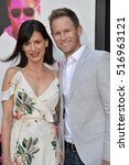 """Small photo of LOS ANGELES, CA. August 15, 2016: Actress Perrey Reeves & husband Aaron Endress-Fox at the Los Angeles premiere of """"War Dogs"""" at the TCL Chinese Theatre, Hollywood."""