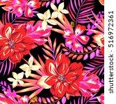 gorgeous hawaiian print  ... | Shutterstock .eps vector #516972361