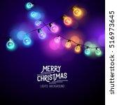 christmas fairy lights  ... | Shutterstock .eps vector #516973645