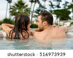 young couple in a luxury hotel... | Shutterstock . vector #516973939