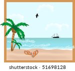 red slippers on the beach | Shutterstock . vector #51698128