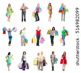 shopping people set. | Shutterstock . vector #516982099