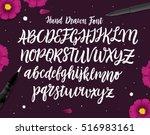 calligraphic vector script font.... | Shutterstock .eps vector #516983161