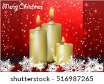 merry christmas  candles  snow  ... | Shutterstock .eps vector #516987265