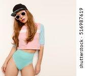 amazing sexy brunette model... | Shutterstock . vector #516987619