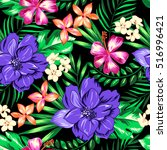 bright and wild hawaiian print  ... | Shutterstock .eps vector #516996421