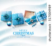christmas blue gift boxes and... | Shutterstock .eps vector #517004989