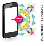 mobile phone icon with trendy... | Shutterstock .eps vector #517006939